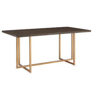 Montgomery Charcoal Brown and Gold Rectangular Dining Table